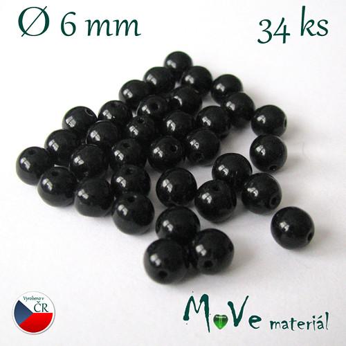 České skleněné černé kuličky 6mm 34ks
