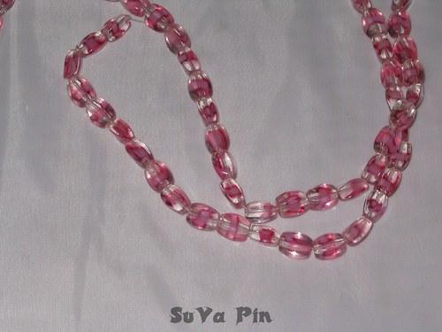Korálky duhovky kvádr růžový2; 10x6mm; 19 ks