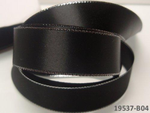 19537-B04 Stuha satén 22mm stř.lem ČERNÁ, á 1m