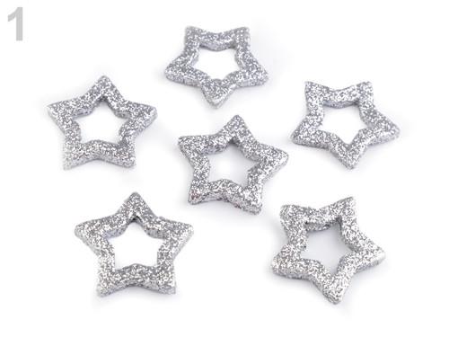 Hvězdičky s glitry Ø33 mm - stříbrná (6ks)