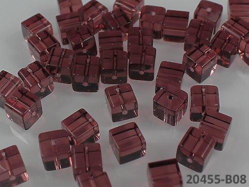 20455-B08 Korálky kostky sklo TM.RŮŽOVÉ, bal.10ks