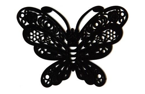 Motýl černý 38x50mm