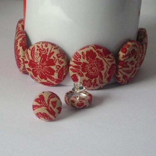 Buttonkový set červené květy