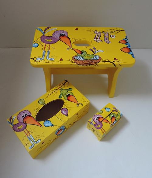 Dětská stolička žlutá(Ptáčci)