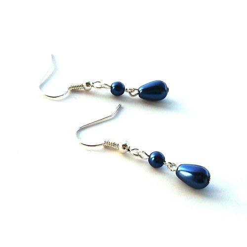 Modré perličkové náušnice s kapkou