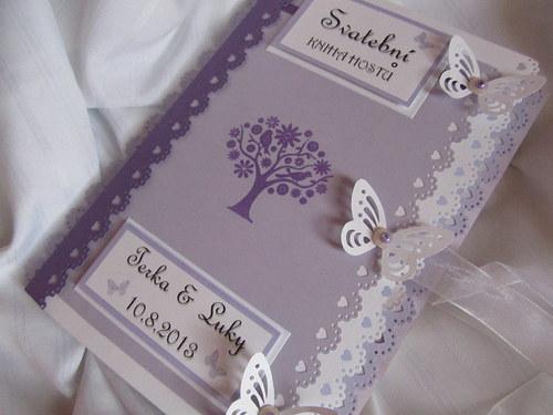 Svatební kniha hostů- butterfly lila