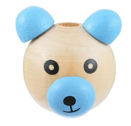 Dřevěná hlava medvídek Ø28mm (1ks) - modrá