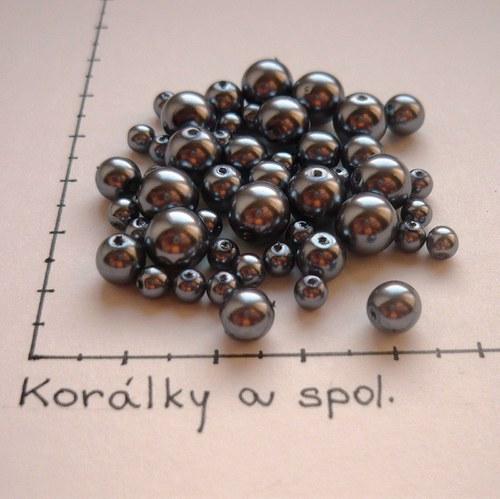 Mix  voskovaných perel tm. stříbrošedých, 48 ks