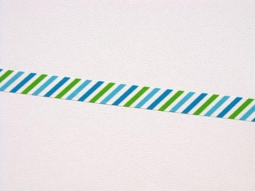 Páska: Zelené a modré proužky (1,5 x 33 cm)