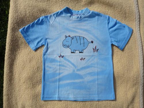 """Dětské modré tričko \""""hrošík\"""" vel. 122"""