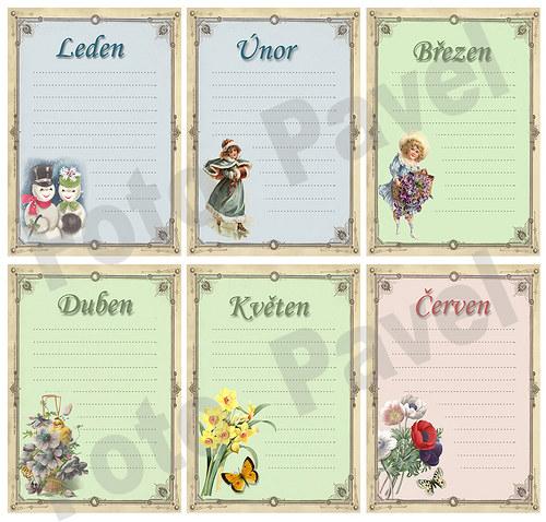 Vintage kartičky (journaling) - měsíc (1-6)