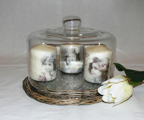 Svíčky - děti - ve vintage stylu
