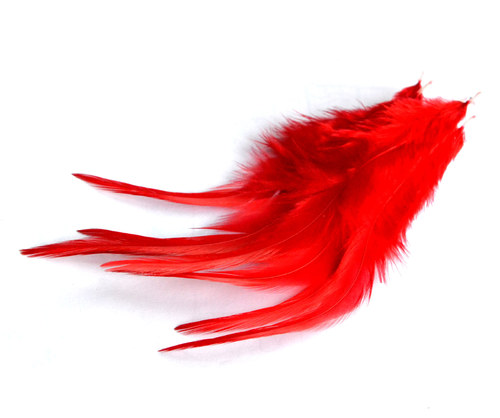 Kohoutí peří 8 - 15 cm červené - 5 ks
