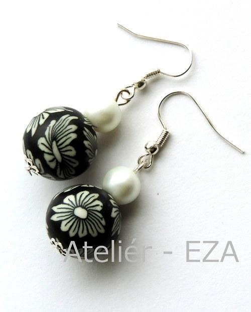 Květované náušnice z fima - černá+bílá SLEVA z 88