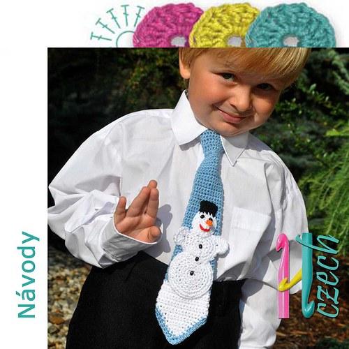 Háčkovaná kravatka sněhulák