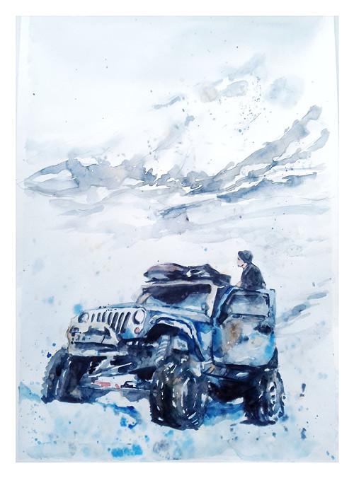 Serie Lide,v horach, Originalni Obraz A3