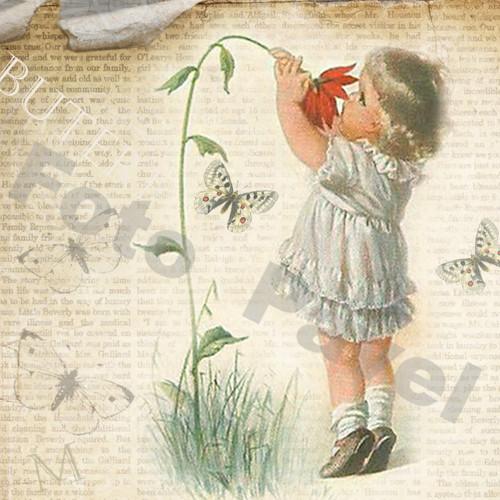 Vintage motiv - holčička - vůně jara