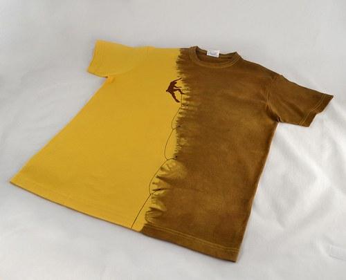 Žluto-hnědé triko s horolezcem S