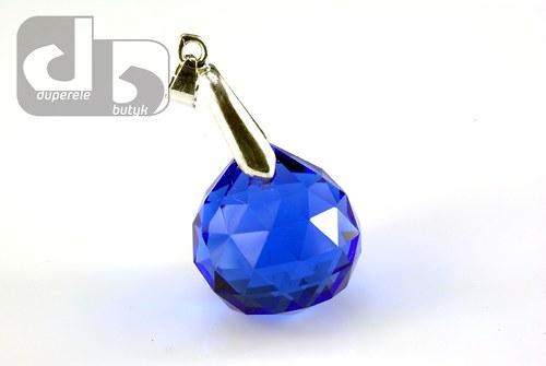 Velká broušená skleněná kapka s očkem - modrá
