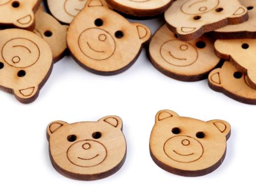 Dřevěný knoflík medvěd 24,3mm (5ks)