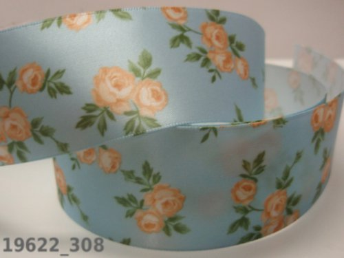 19622-B03 Stuha růže na modrém šíře 38mm, á 1m