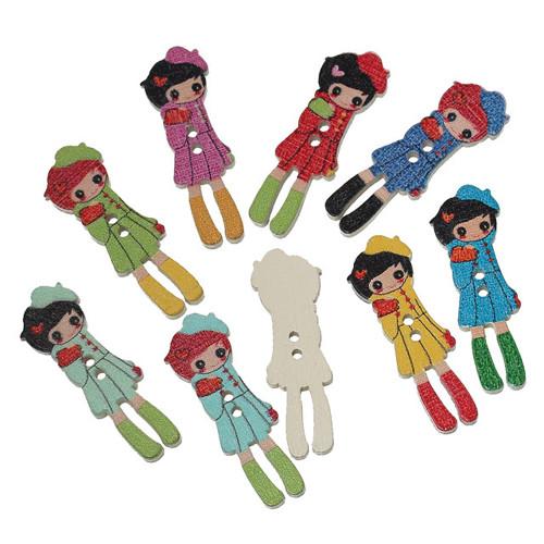 Knoflíky - dřevo - panenky