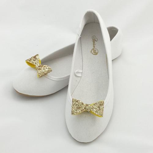 Klipy na botky - zlaté třpytivé mašličky