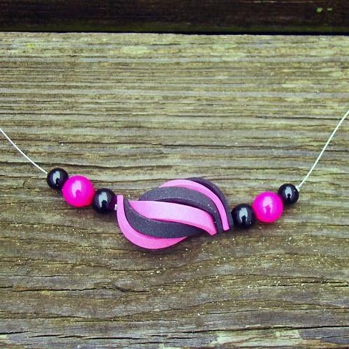 náhrdelník ulita růžovočerná