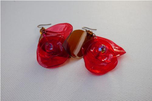 Náušnice Červená růžička - PetArt