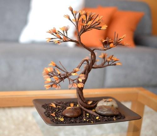 """Nylon flowers \""""Podzimní bonsaj\"""" - autorský výrobek"""
