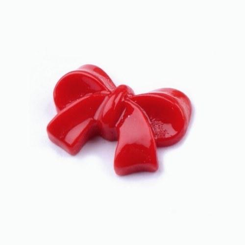Plastová mašlička červená - kabošon - 2 ks