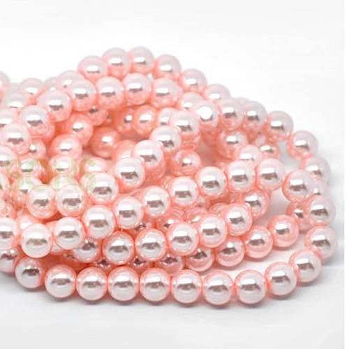 perly skleněné/ růžové - světle/ 10mm/ 10ks