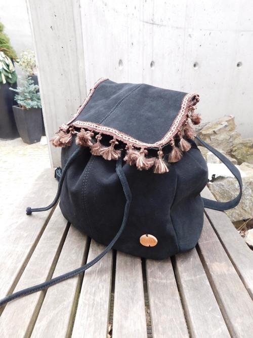 kožený black batoh