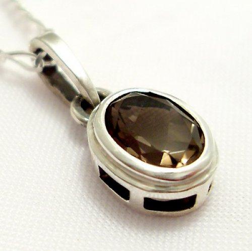 Přívěsek «Odraz» - stříbro 925, přírodní záhněda