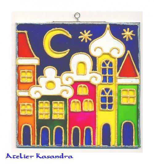 Obrázek malovaný na skle - čtvercový 10x10 cm