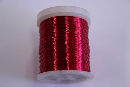 Měděný drátek 03mm - růžovo-červ., návin 48,5-50m