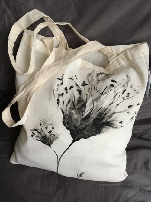 """Malovaná taška ,, květina \"""""""