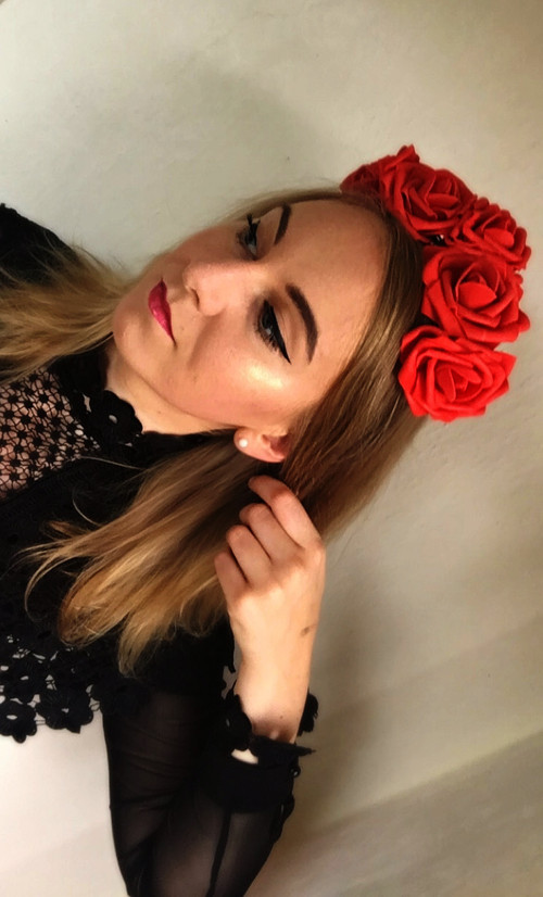 květinová čelenka do vlasů - rudé červené růže · angelieenka fc65e85ad9