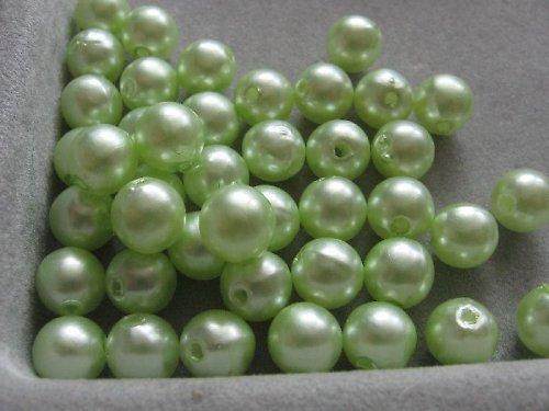 Voskové korálky - světle zelená 8 mm / 25 ks