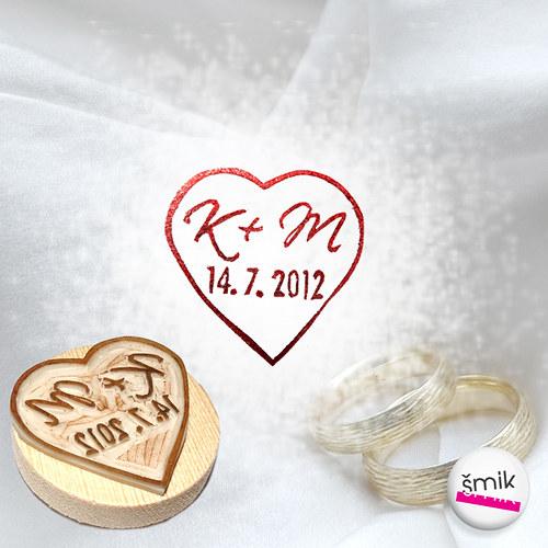 razítko svatební srdce - vzor 7