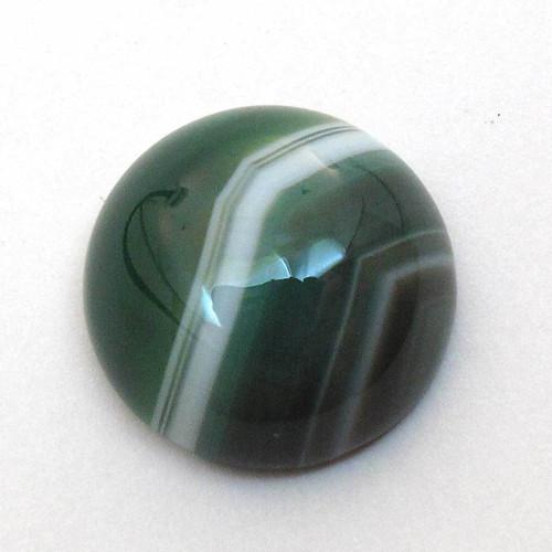 Kabošon zelený pruhovaný achát kruh 14mm