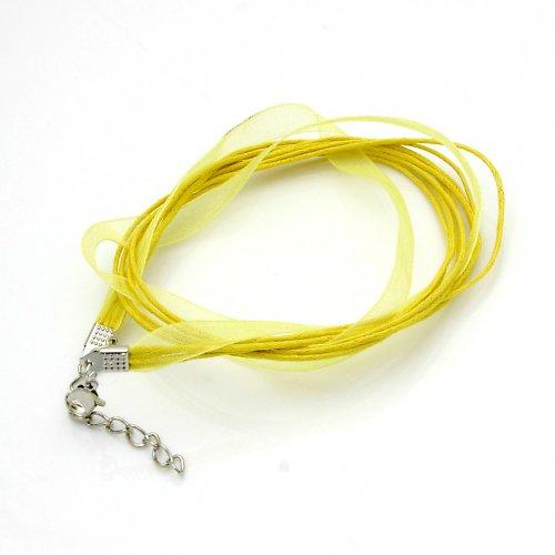 Organza a voskované šňůrky, světle žlutá barva