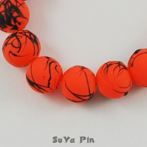 Korálky oranžové 8mm; 40 ks