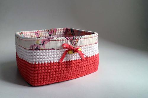 Košík - Růžový Červený světlý | obšitý | dřevěný k