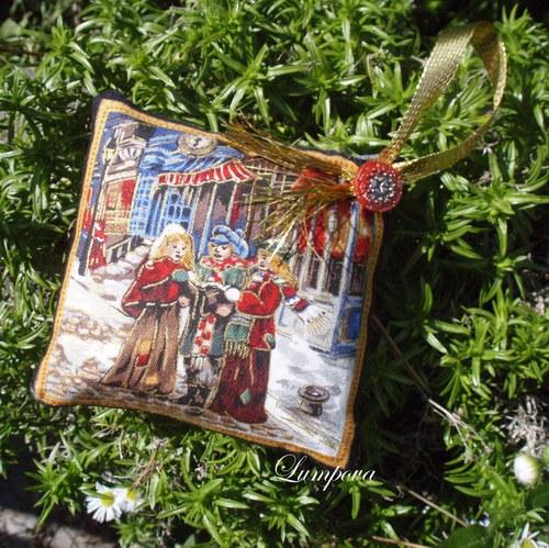 Vánoční jehelníčky se zlatým tiskem