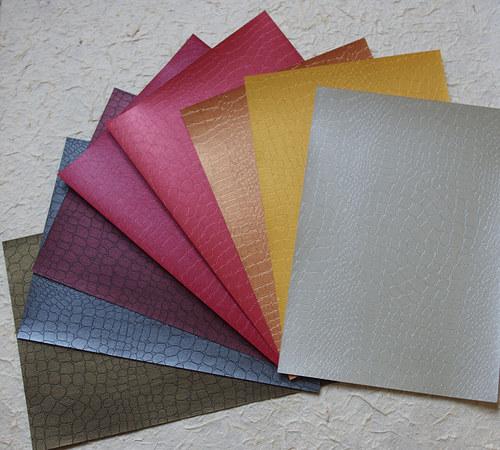 Reliéfní jednobarevný papír kůže - různé barvy