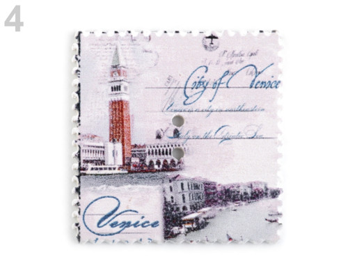 Dřevěný dekorační knoflík poštovní známka(4ks) č.4