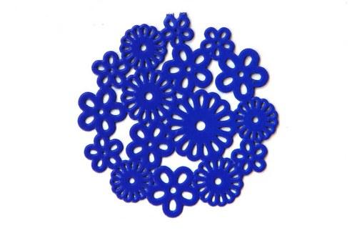 měděné kolečko- modré květy