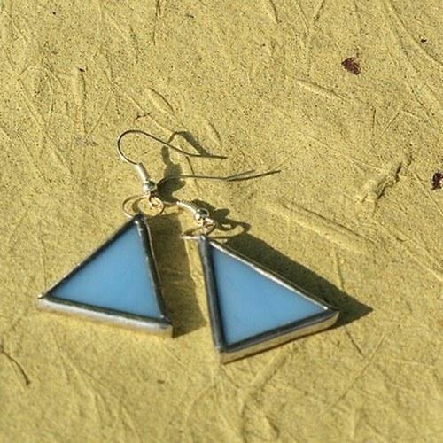 Náušnice - Modré trojuholníky