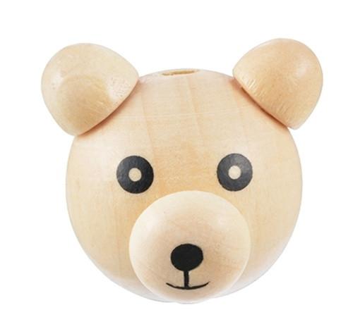 Dřevěná hlava medvídek Ø28mm (1ks) - přírodní